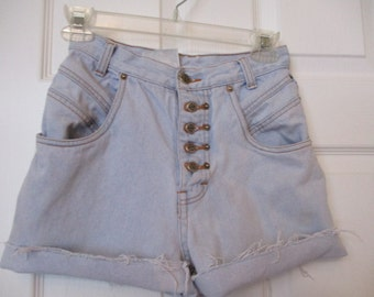 Vintage CUTOFF Denim JEAN SHORTS 1980's Cut Off W 24 Measured Hot Pants High Waisted size 24 waist womens Free Shipping!!!!!