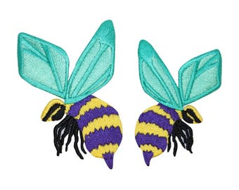 ID 0427AB Set of 2 Bumble Bees Patches Insect Bug Embroidered Iron On Applique