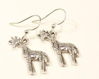 Giraffe Earrings - Giraffe Jewelry -Animal Jewelry -Giraffe Gift -Animal Earrings -Love Giraffe Gift -Silver Giraffe Earrings -Giraffe Charm