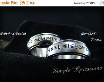 25% OFF Spinner Ring - Personalized Hand Stamped Spinner Ring with Brushed or Polished Finish