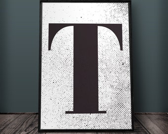 Large letter t etsy for Party wall letter template