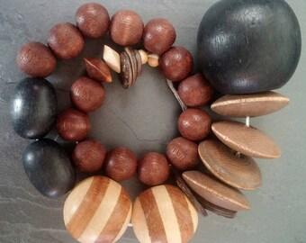Destash Large wood beads, macrame beads, wooden bead shapes, wood bead mix, destash bead sampler, large black bead