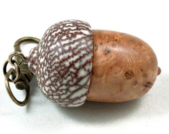 LV-3547  Cherry Burl  and  Betelnut Acorn Box, Pill Holder, Compartment Pendant-SCREW CAP