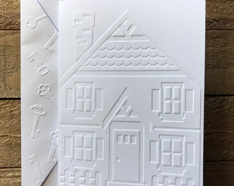 House Cards, White Embossed Cards, House Thank You Cards, Thank You New House Cards, Welcome Home Cards, Real Estate Agent Cards, Realtor