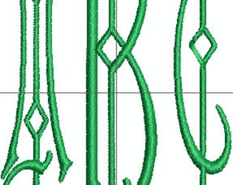 Three Initial Machine Embroidery Monogram Font for 4 x 4 hoop