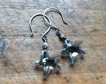 Blue Crystal Starfish Earrings Sterling Silver Ocean Jewelry Mother's Day Gift Ready to Ship Beach Jewelry