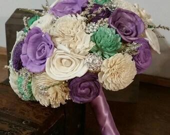 Wedding Bouquet, Sola wood Bouquet,  Brooch Wedding Bouquet, Alternative Bouquet, Bridal Bouquet, Sola flowers, Wood Bouquet