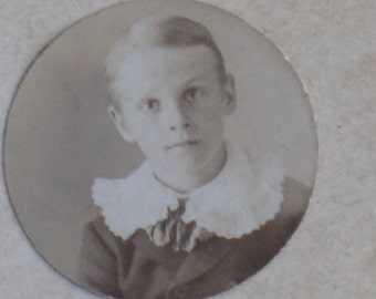 Meet Walter - Antique Miniature Mounted Photo of Edwardian Boy With Ruffled Collar - Vintage Image, Supplies