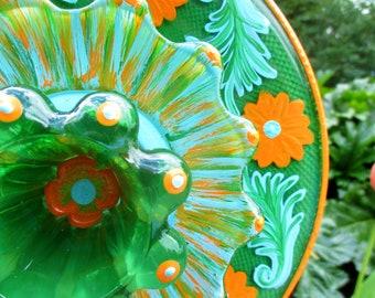 Outdoor Garden Decorations - glass plate flower - hand painted Orange, Blue & Green - garden art- glass garden art