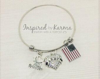 Proud Army Mom Bangle Bracelet, Army Bracelet, Charm Bracelet, Military Jewelry, gifts under 25, Love my soldier, Flag Bracelet,Army Jewelry