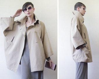 FENDI Vintage classic beige women outerwear cape balloon shape cocoon cloak trench jacket coat