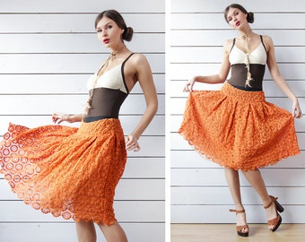 Vintage orange lace chiffon layered full pleated knee length midi skirt M