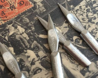 French vintage as new nibs, Blanzy-Conté-Gilbert dip pen nibs. Listing is for 6 nibs.