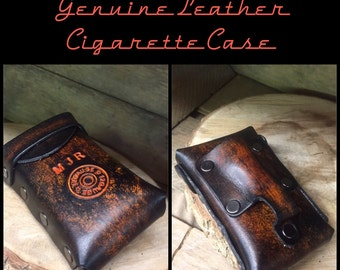 a great gift that last a lifetime Great gift skull crossbones hand made- genuine leather cigarette case can be personalized great gift that will last a lifetime.
