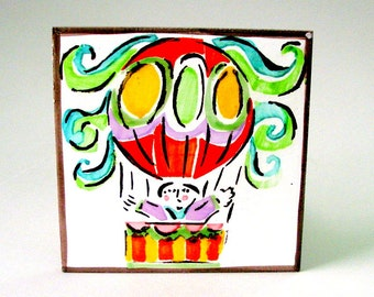 Vintage Mod Italian Tile Hot Air Balloon w Man 4x4 Charicature Hand Painted Poly Chrome Mid Century Desimone Futuristico Design Style Italy