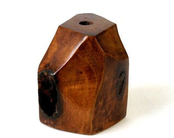 70s Wood Pen Holder Sculpture Multi Facet Cubist 3D Carved Knotted Walnut 4in Office Desk Abstract Rustic Modern Art Eames Era Artist Signed