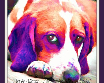 Affordable Custom Dog Portraits - Beagle -Hand created - I love dogs!