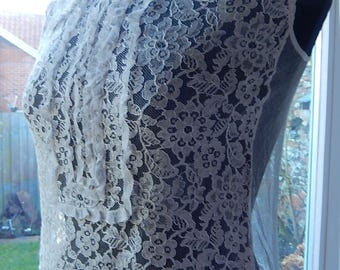 Vintage lace ruffled modesty vest camisole dress front cream tulle back  1910 - 20's