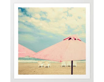 SALE, Beach art, canvas art, beach prints, beach wall art, pink umbrella art, beach umbrella print, beach canvas art, large beach print, art