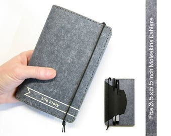 Personalized Gray Kraft-tex Leather Alternative Cahier Cover w/ Pen Holder - Moleskine / Field Notes Cover - Fits 3.5 x 5.5 in. Cahiers