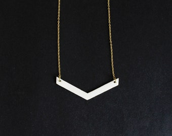 White Chevron Necklace.              Reversible Minimal Geometric Necklace.     Minimal Modern Jewelry with a Charitable Donation