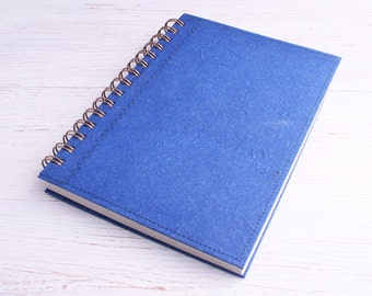 A5 Blue Lined Notebook / Writing Journal / spiral bound notebook / Eco journal / Recycled diary / Personal diary