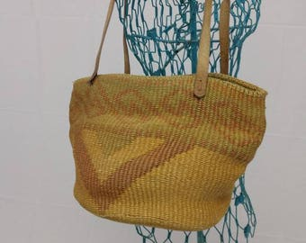 Vintage 80s Sisal / Jute / Market Bag / Purse / Tote