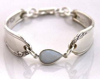 Spoon Bracelet Vintage Silverware Jewelry Bracelet - .925 Sterling Silver Clasp - HEATHER 1936 - Shabby Chic - ETHIOPIAN OPAL