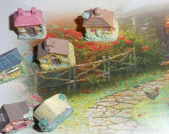 Mini Mini Resin Fairy Houses / Sweet  Pastel  English Cottages /  Dreamy Fairy Scapes