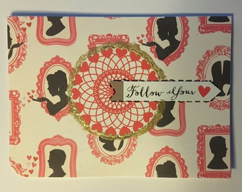 Ooak Love card with envelope for male from female