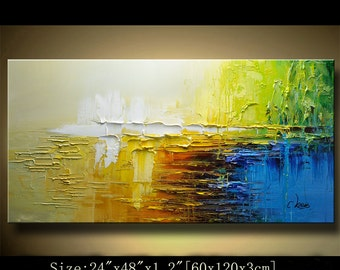 contemporary wall art,, Modern Textured Painting,Impasto  Landscape  Textured Modern Palette Knife Painting,Painting on Canvas by Chen 0222
