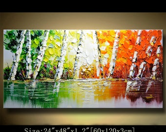 contemporary wall art, Palette Knife Painting,colorful tree painting,wall decor  Home Decor,Acrylic Textured Painting ON Canvas by Chen 0417
