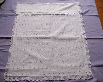 Vintage Eyelet Baby Carriage Cover - Small Window Curtain -  Door Panel Curtain