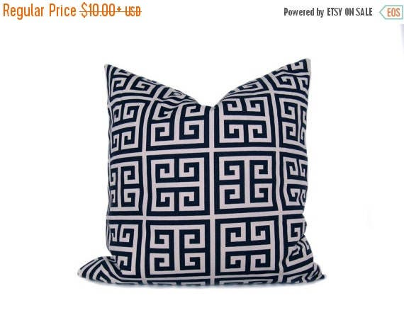 15% Off Sale BLUE pillow Decorative Navy Pillow Cover Greek Key ,Navy and Cream , Accent Pillow , Cushion Cover, Throw Pillow, Pillow Case ,