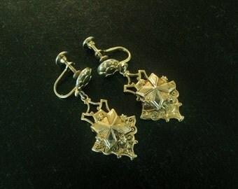 Antique 3D Goldtone Dangle Earrings, Screw On