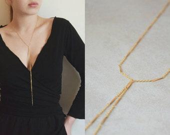 Lariat Necklace, Drop Bar Necklace, Stylish Y Necklace, Long Delicate Drop Necklace, Tassel lariat, Long Y necklace,  Lariat & Y Necklaces