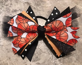 Black and Gold Basketball Hair Bow - Basketball Bow - Basketball Ponytail - Basketball Ribbon - Black Basketball - Basketball Hairbow