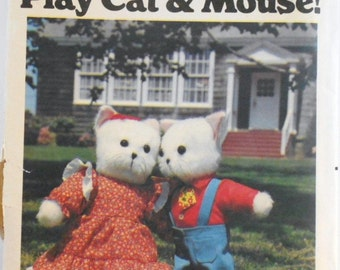 Vintage Butterick Craft Pattern Number 5666 Play Cat and Mouse Including Clothing Sewing Craft Pattern Destash Commercial Supply
