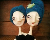 Lauren and Abby are conjoined twins OOAK paperclay hinged Art Dolls