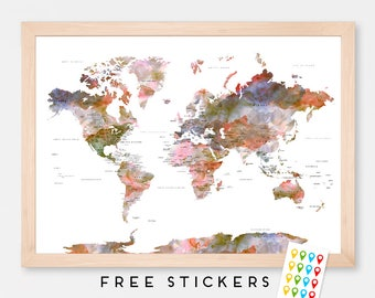 World Map Poster Watercolor Floral  - Travel World Map - Stickers Included  - Gift Idea