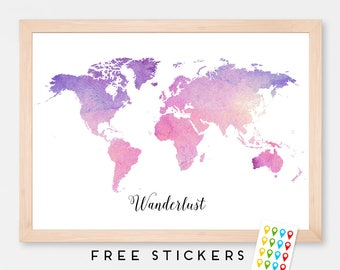 Personalized Map of the world Map Watercolor Art Print Poster - Wall Hanging - Housewarming - Large World Map