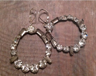HOLIDAY SAVINGS Art Deco Earrings 1940's Bridal Paste Rhinestone