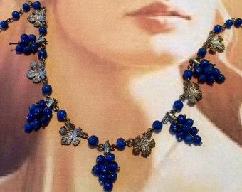 HOLIDAY SAVINGS Vintage Grape Czech Necklace Art Deco Lapis Blue Napa Vineyard Wedding