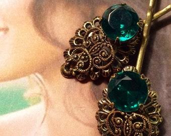 Decorative Hair Pins 1940 1950 Vintage Bridal Emerald Green West Germany Wedding Jewelry