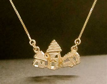 2 Houses & Camper necklace, solid 14k gold pendant, handmade, recycled made in USA