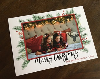 Christmas Branches Photo Card with Optional Back