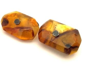 Amber Baltic Cufflinks Genuine Antique 8.56 Gr Genuine Honey Color