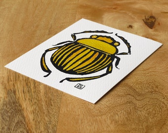 Watercolor block print card - sun scarab