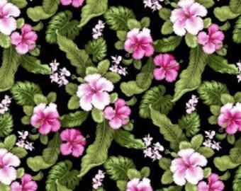 Tropical Print Hibiscus - Lush Garden - Cotton Fabric - David Textiles - FL-19