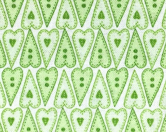 Green Hearts - Basically Hugs - Cotton Fabric - Red Rooster Fabrics - HEART-01